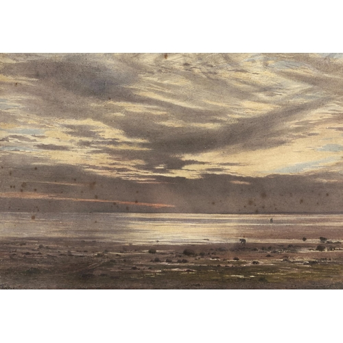 1349 - William Robinson (1835-1895) - Shrimp Gatherer at Sunset, signed and dated 1883, watercolour, 25.5 x...