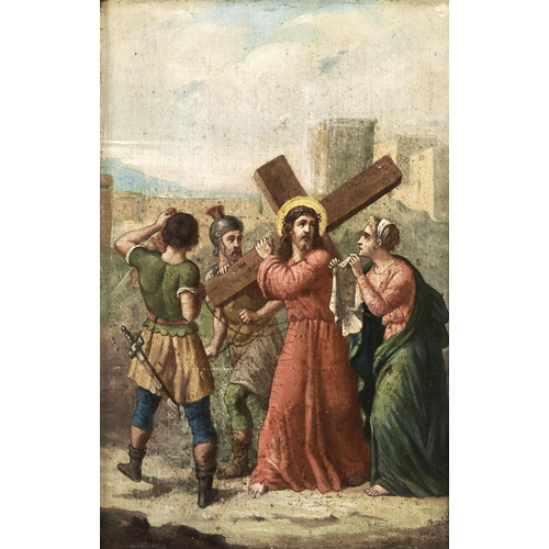 1355 - 19th c School - Christ Carrying the Cross, oil on canvas, 36 x 23.5cm