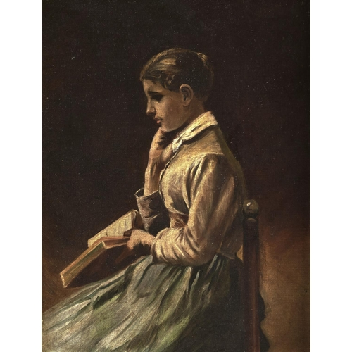 1359 - 19th c School - A Young Lady Holding a Book, oil on canvas laid on board, 44 x 34cm