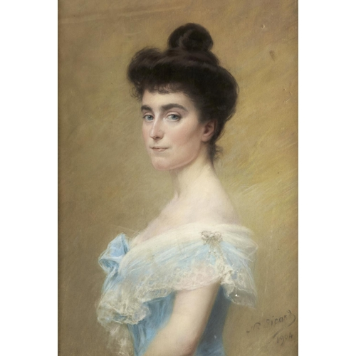 1362 - Nicolas Sicard (1840-1920) - Portrait of a Young Woman in a Blue Dress, signed and dated 1904, paste...