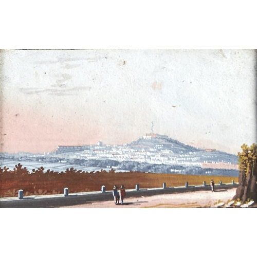 1364 - Neapolitan School, mid 19th c - Views of Naples, a pair, both inscribed with the titles in black lin...