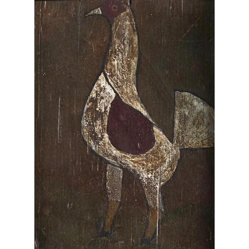 1365 - British(?) NaïveArtist - Game Cocks, a pair, watercolour, 11.5 x 8cm, earlier associated Victorian ...