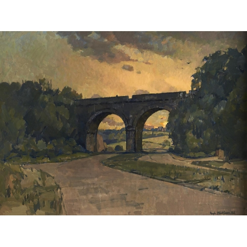 1370 - Hugh Ralph Micklem (1918-2009) - The Viaduct, signed and dated '82, oil on hardboard, 59 x 80cm...