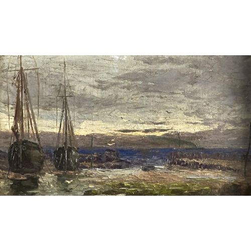 1378 - C Keene, 1901 - Two Fishing Boats in a Harbour, signed and dated, oil on canvas, 14 x 24.5cm...