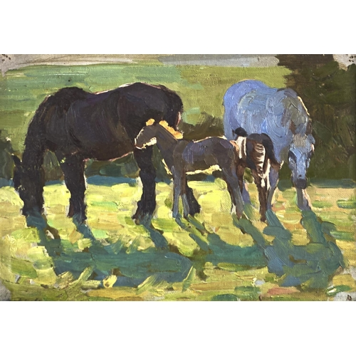 1379 - Winifred Wilson (1882-1973) - Study of Horses, signed, oil on board, 19.5 x 27cm