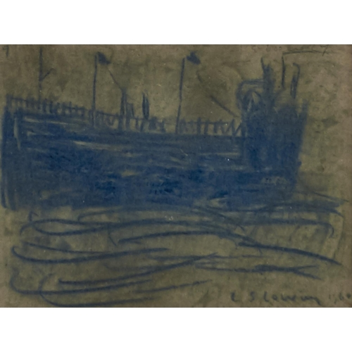 1380 - Manner of L S Lowry - A Wall, bears signature and date, blue crayon on a leaf from a sketchbook, 12....