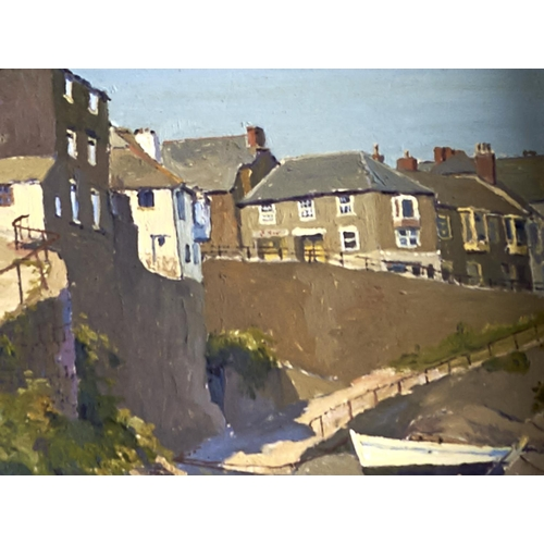 1381 - Denys Law (1907-1981) - Mousehole Cornwall, signed, oil on hardboard, 18.5 x 24cm