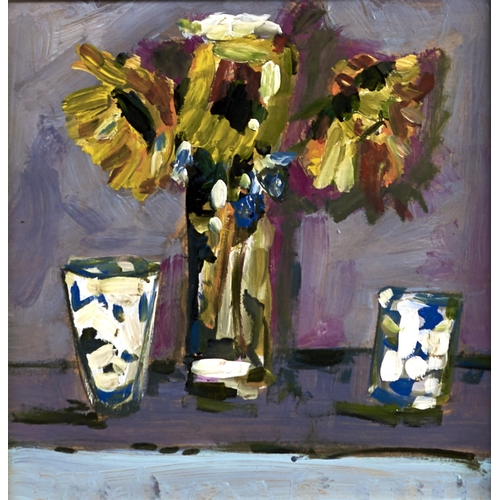 1382 - 20th c School - Flowers in a Vase; Four Vases of Flowers, two, one indistinctly signed, oil on board...