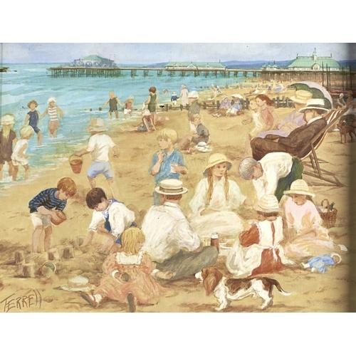 1383 - British School, 20th / 21st c - Building Sandcastles, signed Terrell, acrylic on board, 31 x 41cm...