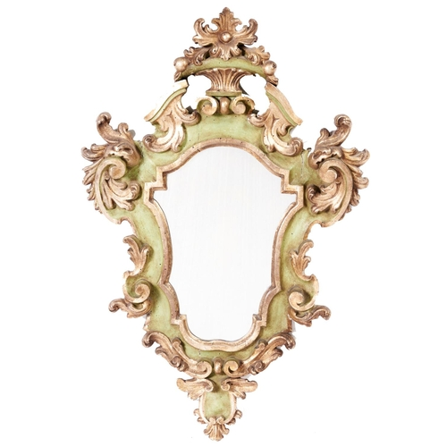 1394 - An Italian giltwood and pea green painted mirror, early 20th c,in baroque style, 89cm h...