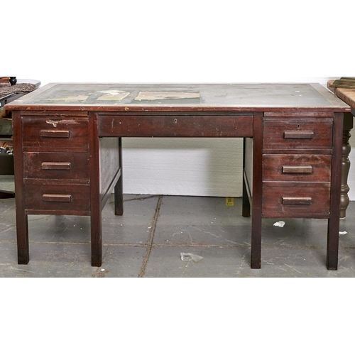 1405 - A mahogany pedestal desk, mid 20th c, the top with inset black fabric writing surface above one long...