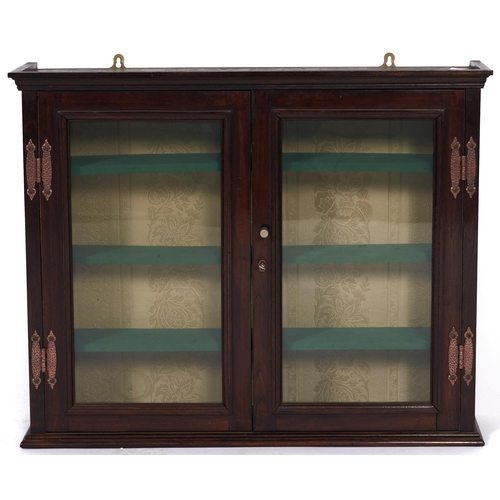 1407 - A mahogany glazed wall hanging display cabinet, with copper art nouveau style hinges, 56cm h, 69cm w...