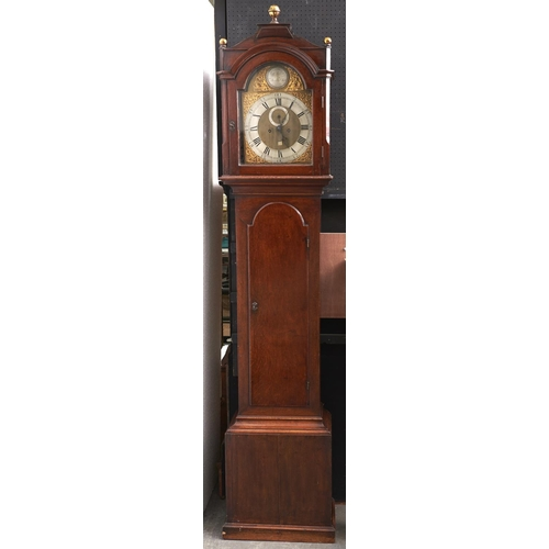 1414 - A George III oak eight day longcase clock, Willm Hallen Henley Oxon, late 18th c, the breakarched br...