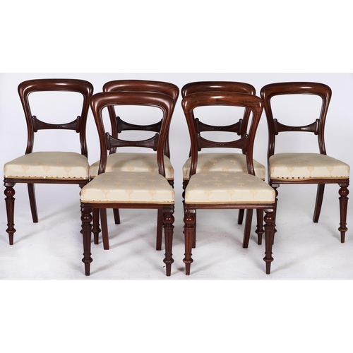 1417 - A set of six Victorian mahogany dining chairs, on fluted legs, seat height 45cm