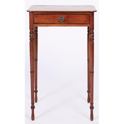 1427 - A George III mahogany side table, early 19th c, fitted with a drawer, on slender ring turned taperin...