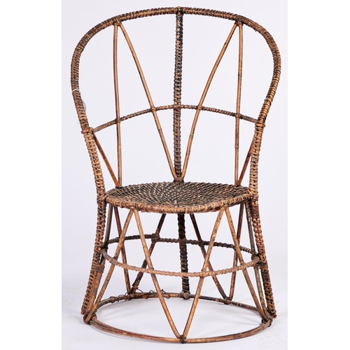 1444 - An unusual Victorian painted bamboo and wicker chair, c1900, with curved back and round seat, 86cm h...
