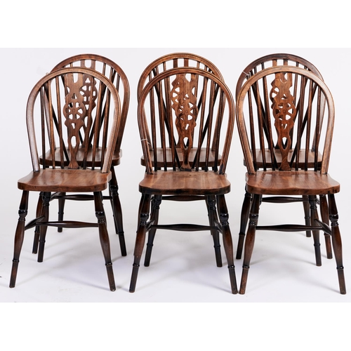 1450 - A set of six stained ash wheel back dining chairs, in Victorian style, seat height 46cm...