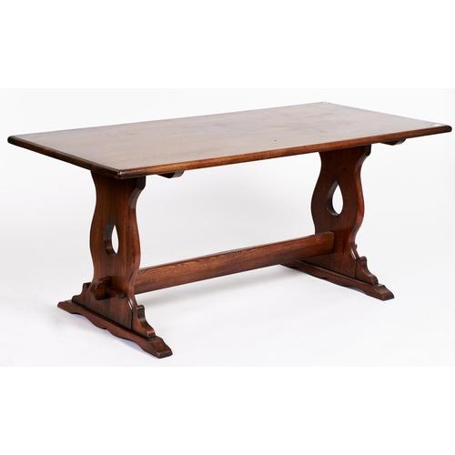 1452 - An antique style oak refectory table, 76cm h; 182 x 74cm