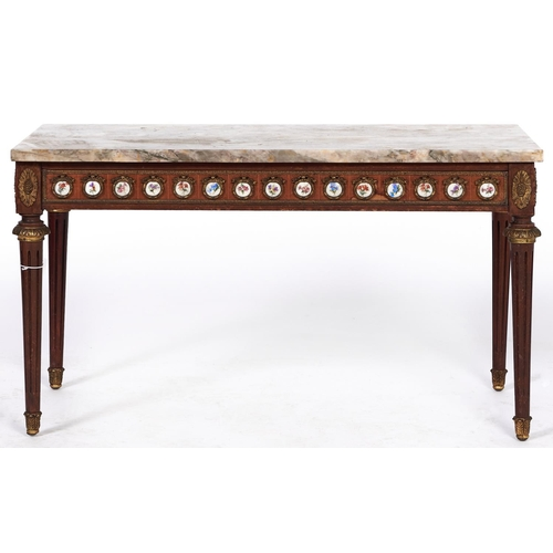 1467 - A Louis XV style giltmetal mounted walnut coffee table, with polished marble top, 50cm h; 90 x 50cm...
