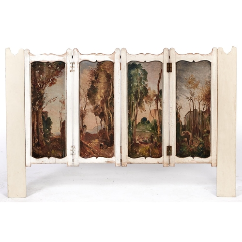 1490 - A decorative landscape painted cream ground wood folding screen adapted and extended to form a radia...