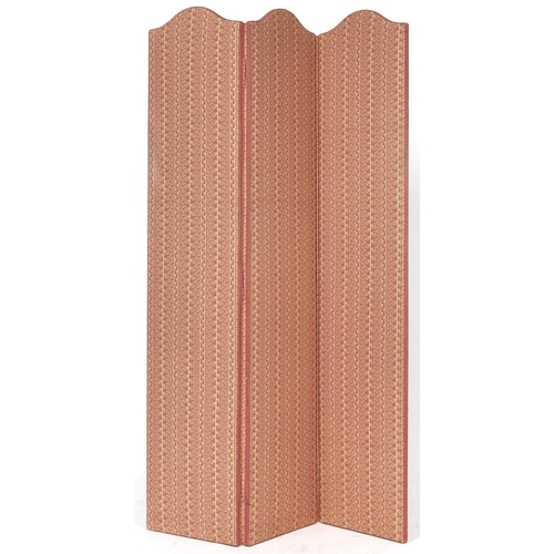 1500 - A three panel screen, padded and covered in boteh pattern Claremont cotton, 169cm h, 115cm l...