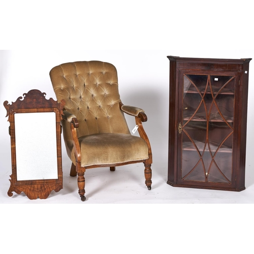 1510 - A Victorian walnut nursing chair, c1870, the button back arm pads and serpentine seat upholstered in...