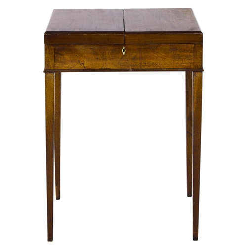 1514 - A George III mahogany dressing table, c1800, the top hinged at the sides revealing an interior with ...