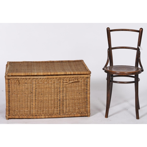 1521 - A bentwood chair with caned seat, c1930's, seat height 48cm and a wicker linen basket, 47cm h; 84 x ...