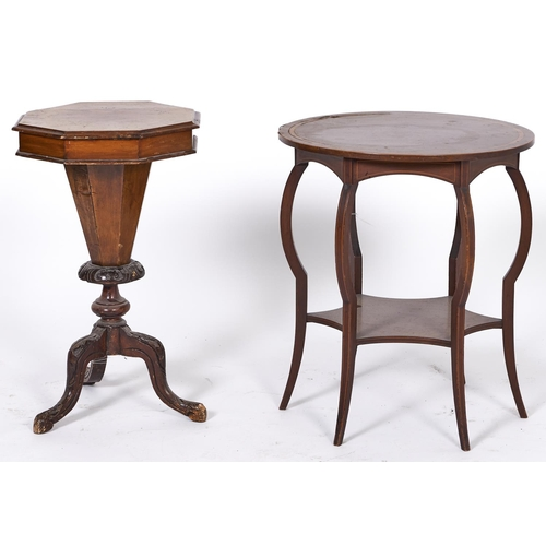1529 - A Victorian burr walnut veneered trumpet shaped work table, c1870, the octagonal top above tapered c...