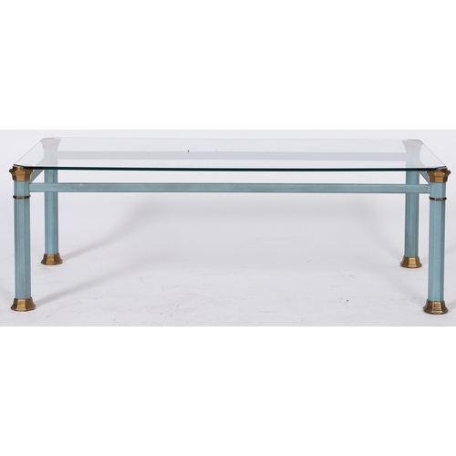 1536 - A modern glass topped coffee table, on coated metal base, 39cm h; 116 x 60cm