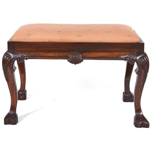 1540 - A mahogany dressing stool, 20th c, in George II style, on cabriole legs, 48cm h; 46 x 74cm...