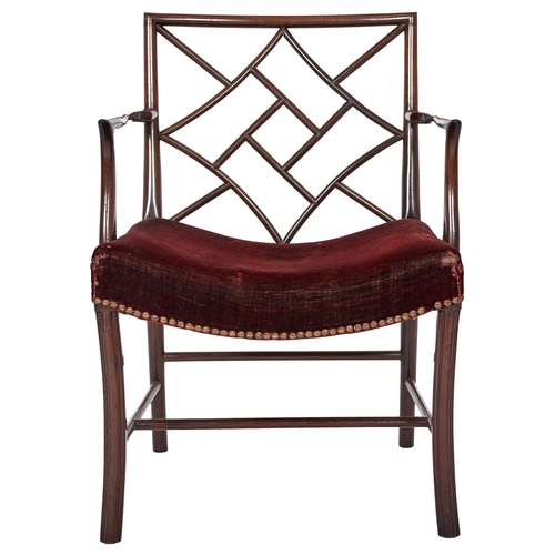 1562 - A George III laburnum 'cockpen' chair, Scottish, early 19th c, having dished, stuffed over seat cove...