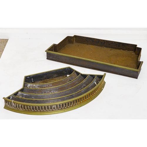 1574 - A Victorian bow fronted brass mounted steel ash pan and another, both late 19th c, 71 and 74cm l...