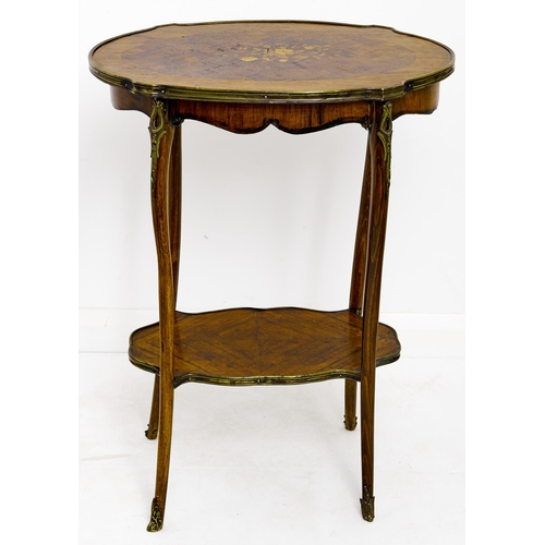 1575 - A French kingwood, marquetry and stained wood table ambulant, early 20th c, in Louis XV style, with ...