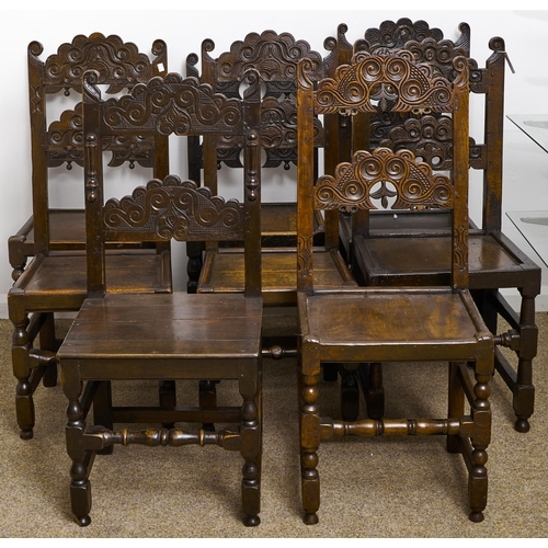 1576 - Eight similar oak Derbyshire chairs, late 17th c and later, with framed or boarded seat, seat height...