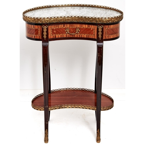 1581 - A reproduction kidney shaped two tier table in Louis XVI style, c1970's, the veined grey marble top ...