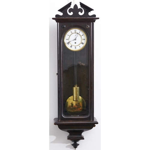 1587 - A Continental mahogany-stained beech wall clock, the broken architectural pediment centred of a fleu...