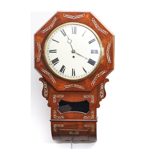 1588 - A mother of pearl inlaid rosewood veneered drop case wall clock, c1850, the octagonal border segment...