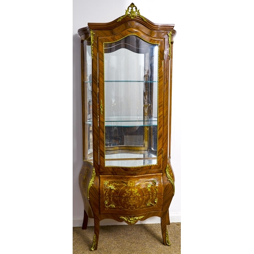 1596 - A kingwood and inlaid vitrine, 20th c, in Louis XV style, with giltmetal mounts, fitted two drawers,...