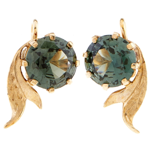 164 - A pair of synthetic spinel earrings, in gold marked 9ct, 4.9g