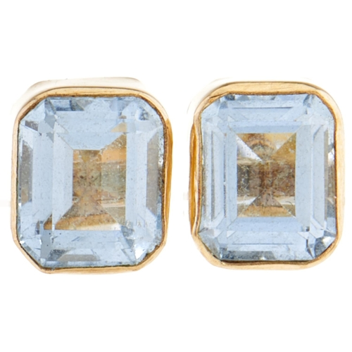 166 - A pair of 9ct gold and aquamarine earrings, 1.9g