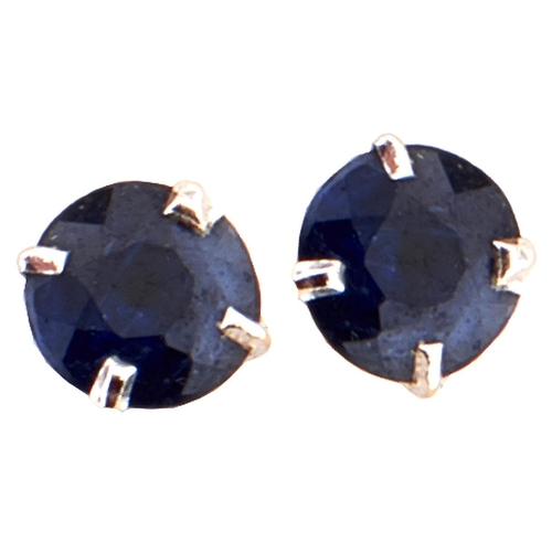 167 - A pair of white gold and sapphire earrings, 0.5g