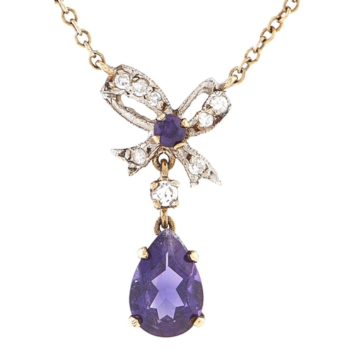 181 - A diamond and amethyst necklace, in gold marked 9ct, 2.7g