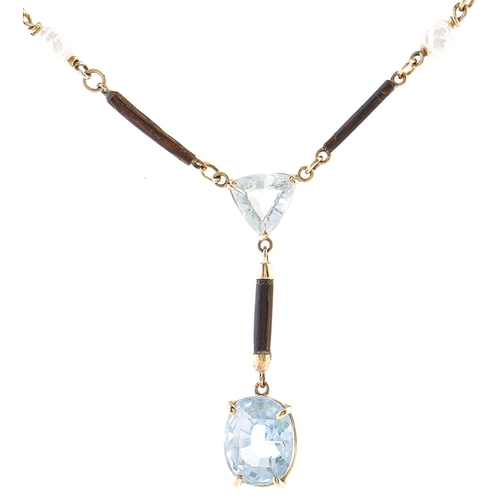 182 - An aquamarine, baroque pearl, horn and 9ct gold necklet, 6.4g