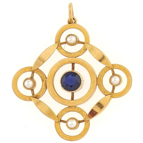 190 - A sapphire and pearl pendant, in gold marked 18ct, 3.6g