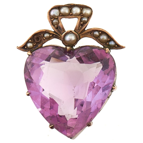 191 - An amethyst pendant, in gold marked 9ct, 3.5g