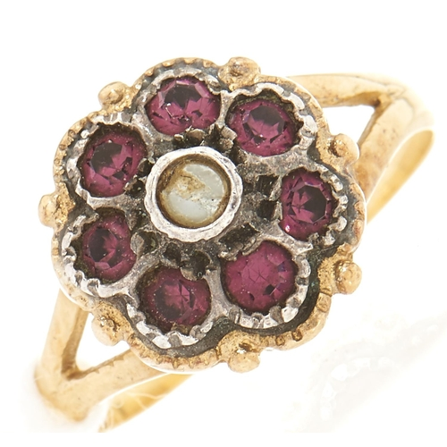 2 - A paste cluster ring, in gold marked 750, 3.6g, size L