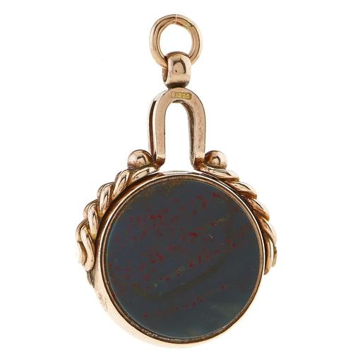 218 - A 9ct gold bloodstone and cornelian swivel fob seal, 11.5g