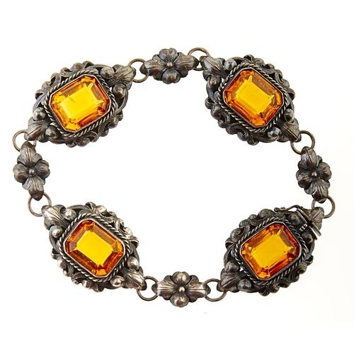 227 - A paste set silver bracelet, 19g