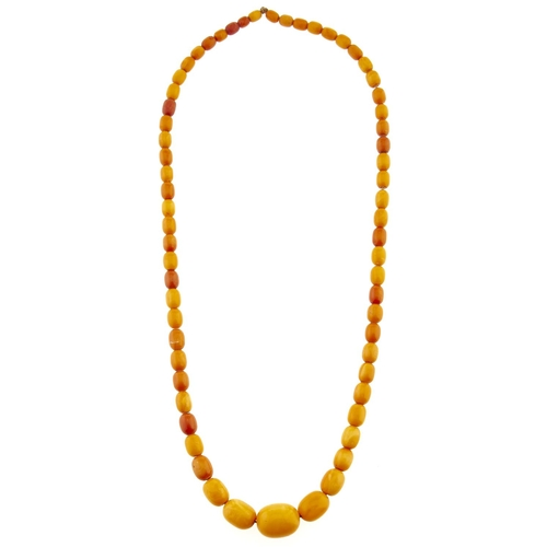 237 - A necklace of amber and other beads, 47.9g